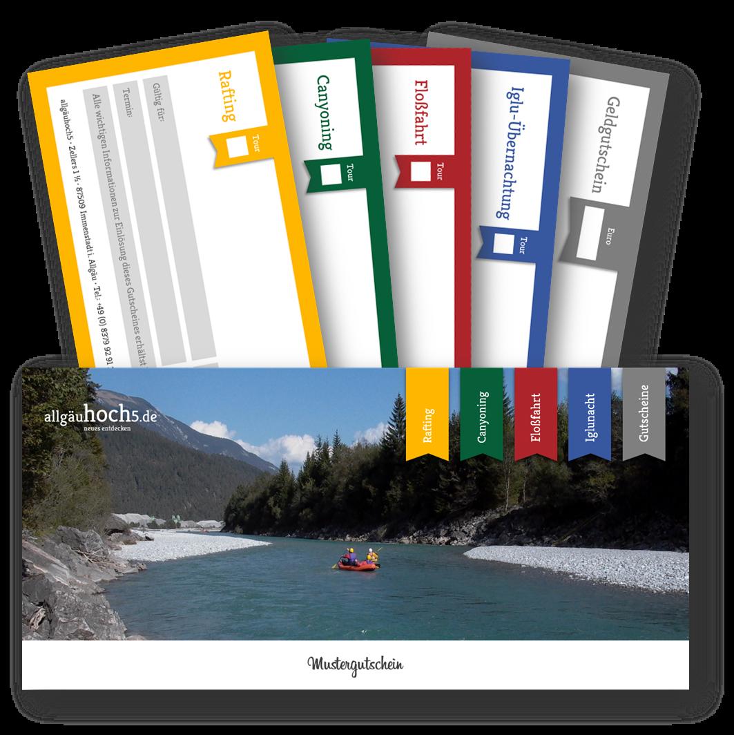 Gutschein für Rafting, Canyoning, Igluübernachtung sowie Floßfahrt und Bootspartie